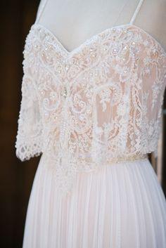 Boho chic wedding dress | beaded crop top | straps | v neckline | Aline by FLORA