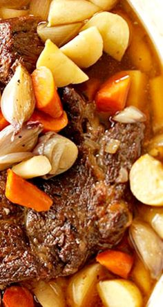 Sunday Oven Pot Roast ~ An oven or slow cooker turns an inexpensive beef pot roast into a succulent, tender feast. Vegetables cooked with the roast make for a simple, but filling meal.