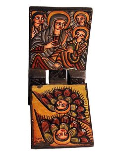 Wooden Icon Stand, Ethiopia.  Ethiopia has been a Christian nation since the 4th Century. Many artworks of Ethiopian people and culture include iconic or symbolic reference to Christianity in Eastern Orthodox or Coptic forms.