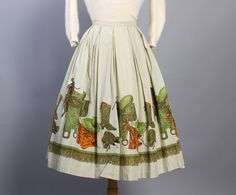 50s western novelty print full skirt. Look at those lovely pleats around the waist!