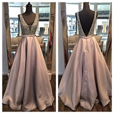 Gorgeous A-Line V-Neck Champagne Split-Front Long Prom Dress with ...