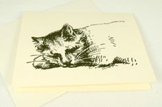 Sleeping Kitty Note Cards set of 10 with by PinkiesPalace on Etsy, $10.00