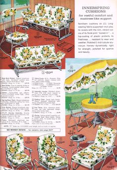 mid mod lawn furniture - Sears 1963 Grandma had that chaise lounge and it was sooo comfy! Vintage Porch, Vintage Metal, Vintage Decor, 1960s Decor, Retro Ads, Vintage Advertisements, Vintage Ads, Vintage Magazines, Vintage Stuff