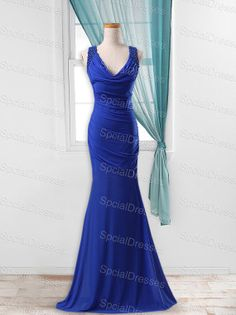 I LOVE this dress for the ball!!  Exquisite Beaded Royal Blue Mermmaid/Trumpet V-neck Neckline Sweep Train Prom/Wedding Party Dress