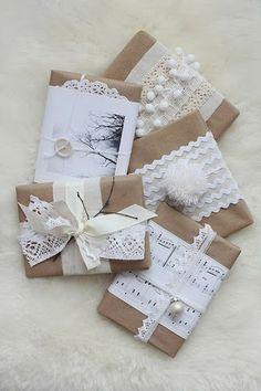 Ideas envoltorios regalo con puntillas. Dulces y delicados.