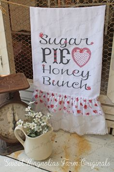 "Items similar to Flour Sack Kitchen Towel. Farmhouse Cottage Chic Country Style Southern Saying Ruffle Heart. ""Sugar Pie Honey Bunch"" on Etsy Dish Towels, Hand Towels, Tea Towels, Kitchen Linens, Kitchen Towels, Kitchen Decor, Vinyl Crafts, Diy And Crafts, Sewing Crafts"