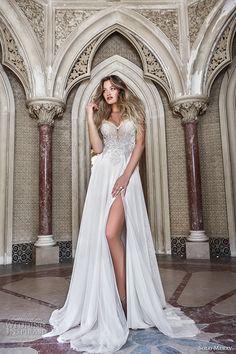 solo merav 2017 bridal thin strap sweetheart neckline heavily embellished bodice side slit split a  line wedding dress low back chapel train (sintra) mv