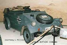 """Volkswagen made approximately 52,000 Kubelwagens for the German Army in the 1930s and during World War II. The Kubelwagen is rear engined and rear wheel drive - 4x2 only - based on the famous Volkswagen people's car or """"VW Beetle"""". As such its offroad performance was no match for the four wheel drive Jeep MB."""