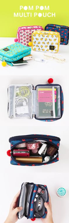 From main compartment to extra pocket on front, this adorable POPAND Pom Pom Multi Pouch has lots of spaces to carry all your items at once! You will always feel organized with this pouch! Cat Accessories, Travel Accessories, My Bags, Purses And Bags, Tote Bags, Diy Pencil Case, Diy Case, What In My Bag, Bag Organization