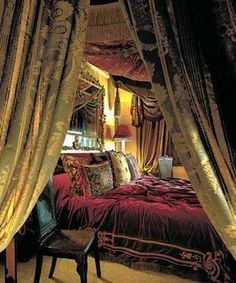 #bedroom interior, drapes