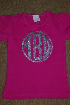 Kids Sparkle Circle Monogram Vinyl T-Shirt. $15.99, via Etsy.