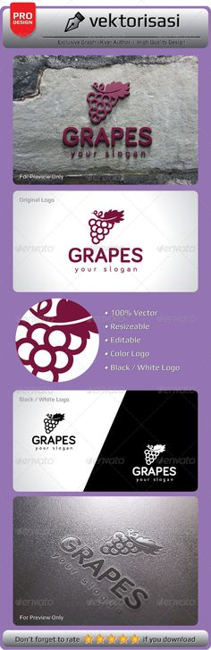 Grapes Logo #GraphicRiver 100% Print Ready Vector Ai Illustrator Vector EPS JPG One Color (black/white) Editable Colors Editable Fonts Resizable Note: Download font to your system font folder before editing those files. The images or mockups in preview file is not included in main file. Need any further assistance or graphic work, don't hesitate to contact me. Please take a moment to rate this item. Thank you! Created: 14August13 GraphicsFilesIncluded: JPGImage #VectorEPS #AIIllustrator…