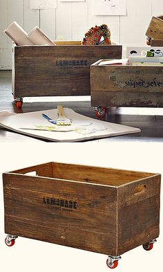 Re-purposed antique crates #HomeDecor from Serena & Lily
