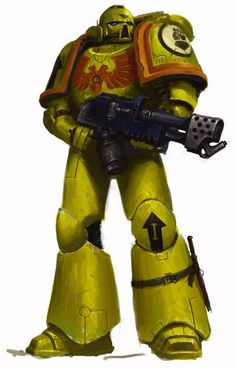 Imperial Fists Tactical Marine armed with a Flamer