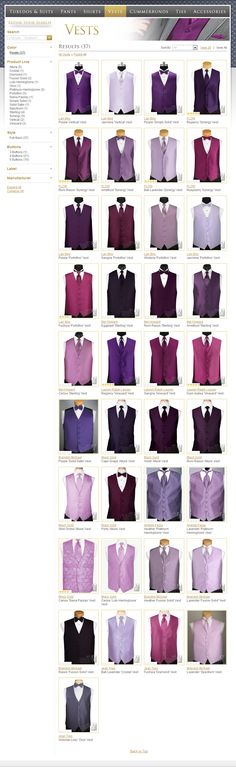Looking for the perfect tuxedo vest for your groom?  Every color available, not just purple!