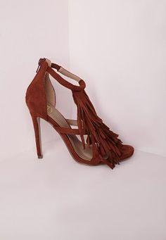 Sandales couleur rouille à talon et franges