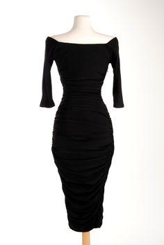 Monica Dress in Black Matte Jersey Knit | Pinup Girl Clothing
