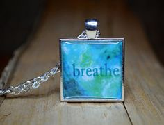 BREATHE Pendant, handmade resin jewelry, turquoise abtract art necklace   #etsy #handmade #gifts #artpendant