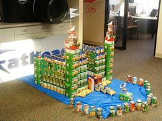 have kids bring canned food each day and watch the castle grow.  All food donated at the end of the week.  Youth could build each day.
