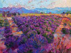 Sequim lavender fields, Washington landscape painting byoil painter Erin Hanson