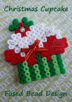 Christmas Holiday Two Layer Frosted Holly Sprig Cupcake Perler / Hama bead pattern.