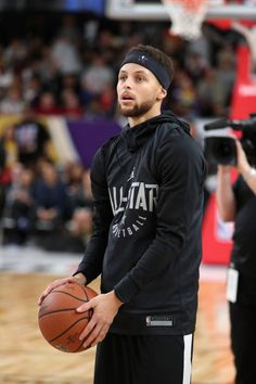 Stephen Curry of Team Stephen participates in the NBA AllStar practice as part of the 2018 NBA AllStar Weekend on February 17 2018 at the Verizon Up...