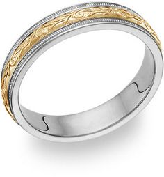 ApplesofGold.com - Womens Paisley Wedding Band Ring in 14K Gold and Silver, $325