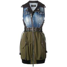 Dsquared2 denim top bondage dress ($2,170) ❤ liked on Polyvore featuring dresses, blue, zip front dress, blue sleeveless dress, tailored dresses, denim dress and military dress