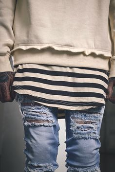 Layering and distressed denim. yeezy season inspiration 2016 great look