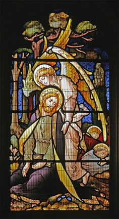 https://flic.kr/p/AxaRMD | Gethsemane, Sunninghill | Section of a stained glass window in St. Michael's church, Sunninghill, Berkshire, depicting angels ministering to Jesus in the garden of Gethsemane (Luke 22:43)