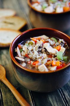 Too easy: Chicken Soup with Rice. Broth, wild rice, chicken, veggies, simmer.