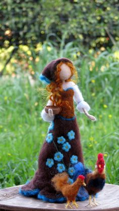 Art doll with chicken Needle felted doll Spring decoration Fairy Crafts, Doll Crafts, Needle Felted Animals, Felt Animals, Needle Felting Tutorials, Felt Fairy, Tiny Dolls, Toy Craft, Felt Dolls