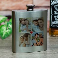 Vannak kedvenc képei? Legyen kedvenc fényképes flaskája is!Lepje meg szeretteit, ismerőseit vagy kollégáit egyedi fényképes flaskával. A fém flaskán 4db fénykép helyezhető el, melynek közepét egy piros szívecske díszíti. A feltöltött fényképek sorrendje a mellékletben látható módon követik egymást. A f&eacu... Flask, Barware, Felt, Felting, Feltro, Tumbler