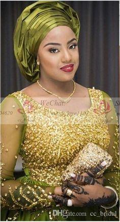 Luxury Gold Beades Aso Ebi Style Evening Dresses 2016 With Long Sleeves Green Muslim Arabic Dubai Kaftan Formal Prom Party Dresses Plus Size African Blouses, African Lace Dresses, African Fashion Dresses, African Outfits, Dress Fashion, Lace Blouse Styles, Aso Ebi Lace Styles, Ankara Styles, African Wedding Attire