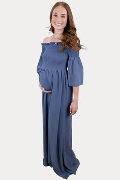 Dark Blue Pregnancy Dress - Sexy Mama Maternity This dark blue pregnancy dress is the ultimate blend of comfort and style! Features an off the shoulder smocked neckline with a gorgeous denim blue color. Constructed of fully lined, and ultra stretch premium material, the subtle ruffled neckline and bell sleeves will add a touch of style and elegance! We know those are definitely essentials for maternity clothes! Ideal throughout pregnancy and beyond. #SexyMamaMaternity #maternitymaxis Cute Maternity Outfits, Maternity Gowns, Pregnancy Outfits, Maternity Fashion, Pregnancy Dress, Bridesmaid Dresses, Wedding Dresses, Sexy Dresses, Blue Denim