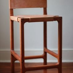 Cherry And Leather Counter Stool by Benjamin Martell