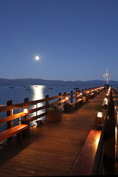 The moon rises over the pier at Gar Woods Grill and Pier, a popular North Shore dining spot. Photo by Gregg Samelson. #usatodaybestlake