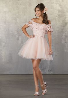 4a68d101e9 Lace and Tulle Party Dress with Off the Shoulder Flounced Neckline
