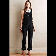 Anthropologie AG dark blackish blue Overalls 25 Anthropologie Alexa Chung X AG Jeans dark blackish blue corduroy Tennessee Bunny Overalls very dark navy almost black cotton corduroy straight relaxed fit overalls  front button flap with matte silver hardware with patch back pockets * 3 buttons on each side  Inspired by '60s fashion It Girls, English model and editor Alexa Chung teamed up with industry powerhouse AG  New With Tags  *  Size:  25 retail price: $325.00  100% cotton…