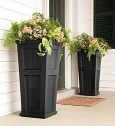 self watering. bc I cant keep it alive :)Lexington Tall Self-Watering Planter - contemporary - outdoor planters - Plow & Hearth Outdoor Projects, Home Projects, Tall Planters, Wood Planters, Front Porch Planters, Front Porches, Garden Planters, Front Porch Decorations, Fromt Porch Ideas