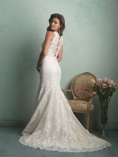sheath wedding dress court train scoop 2015 new arrival applique vestidos sheer crystals rhinestone lace sexy bridal gowns Couture Wedding Gowns, Wedding Dresses 2014, Wedding Dress Sizes, Bridal Dresses, Allure Couture, A Boutique, Bridal Boutique, Elegant, Sophisticated Bride