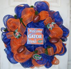 Florida Gators Collegiate Football Orange Blue Deco Mesh Wreath