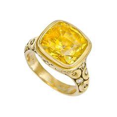 Alex Sepkus: Magnificent cushion-cut yellow sapphire cocktail ring!