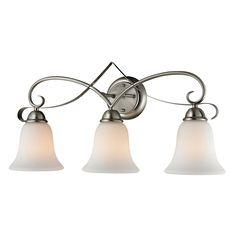 Shop Allen Roth Kenross 3 Light Brushed Nickel Cage Vanity Light Bar At Lowes Com Vanity Light Bar Vanity Lighting Bar Lighting