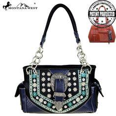 Montana West Handbag Buckle Conceal carry SatchelTote Purse Black #MontanaWest #ShoulderBag
