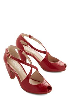 Traverse and Chorus Heel in Rouge by Chelsea Crew - Mid, Faux Leather, Red, Solid, Party, Cocktail, Vintage Inspired, 20s, 30s, 40s, Peep To...