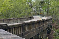 Kentucky Highway 90 bridge crosses a waterelss deep gap in its route along a ridgetop. Near Cumberland Gap State Park, Kentucky.