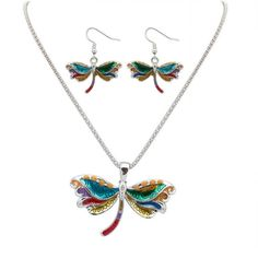 Glaze Dragonfly Pendant and Drop Dangle Earrings Jewelry Set for Women -- Click on the image for additional details. (As an Amazon Associate I earn from qualifying purchases) Dragonfly Necklace, Dragonfly Pendant, Butterfly Pendant, Necklace Chain, Enamel Jewelry, Jewelry Sets, Fashion Earrings, Fashion Jewelry, Iris Fashion