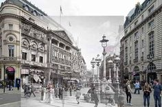 Piccadilly Circus, 1927. | 18 Photos Of London's Past, Blended With Its Present