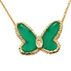 Van Cleef & Arpels Chalcedony Diamond Yellow Gold Butterfly Necklace